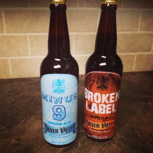 Minus 9 Cream Ale and Broken Label Scotch Ale.
