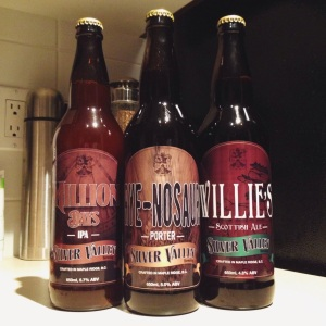 Milliona Days IPA, Rye-nosaur Porter, and Willie's Scottish Ale